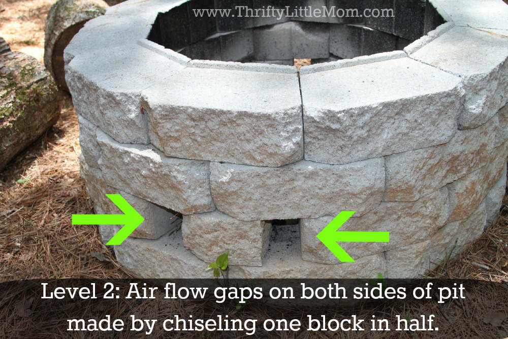Easy diy inexpensive firepit for backyard fun thrifty for How to build a fire pit with concrete blocks