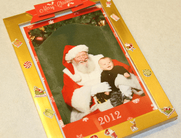 Finished Santa and Me Frame www.thriftylittlemom.com
