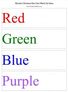 Christmas Bow Color Match Game Printable Preview