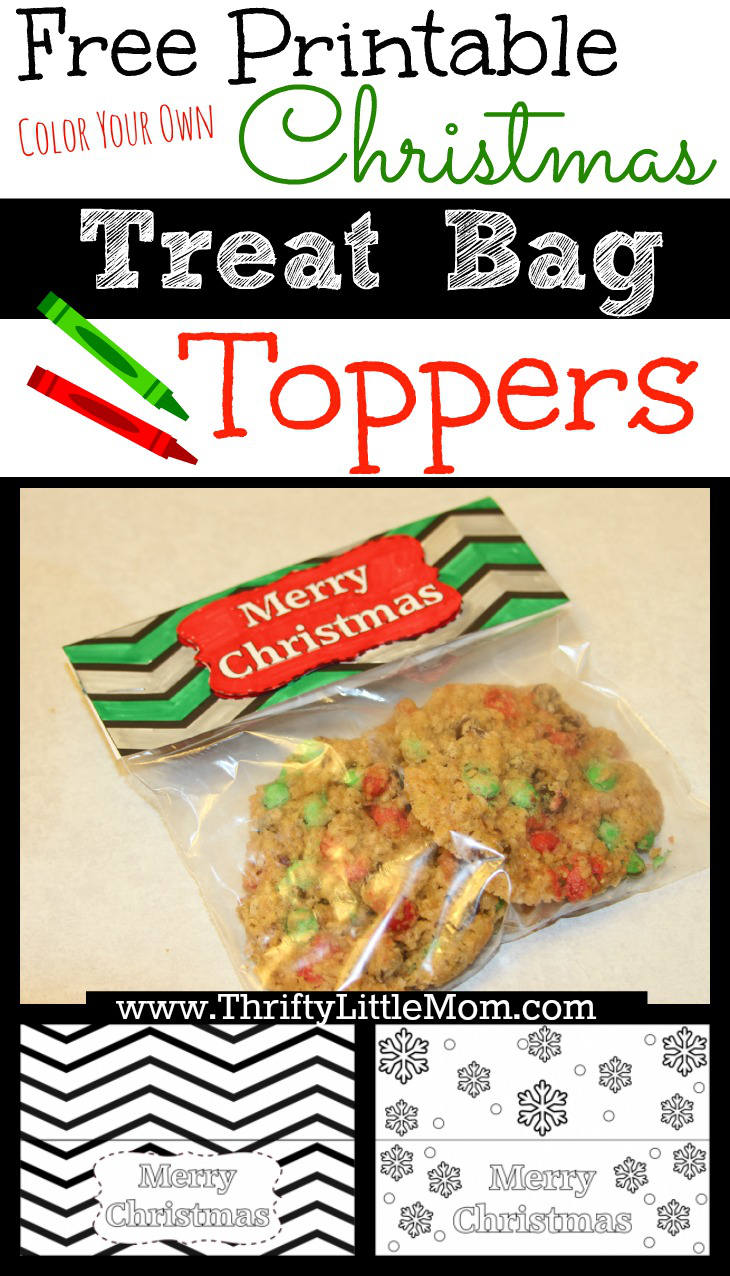 Free Printable Color Your Own Christmas Treat Bag Toppers. Print em' color em' give em away!