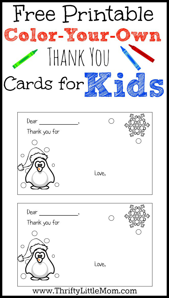 free printable color your own thank you cards for kids as your kids recieve gifts