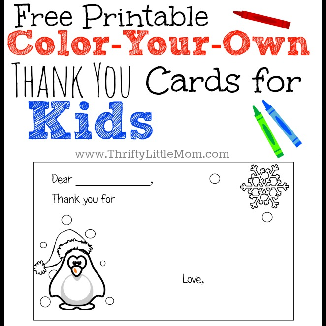graphic regarding Christmas Thank You Cards Printable Free identified as Colour-Your-Particular Printable Thank Your self Playing cards for Small children » Thrifty