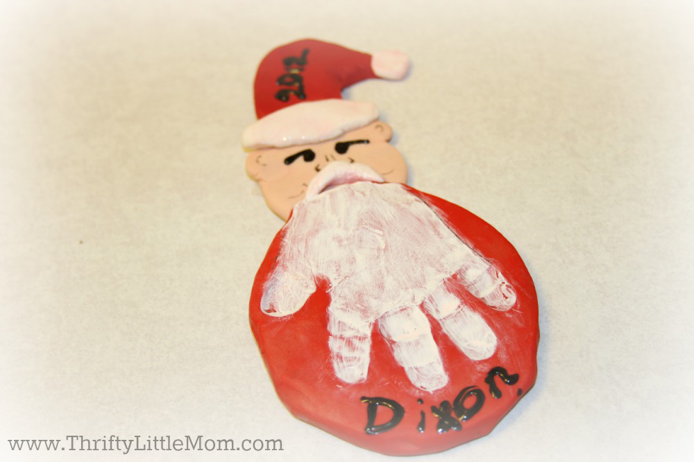 Make Your Own Annual Christmas Ornament Handprint Santa