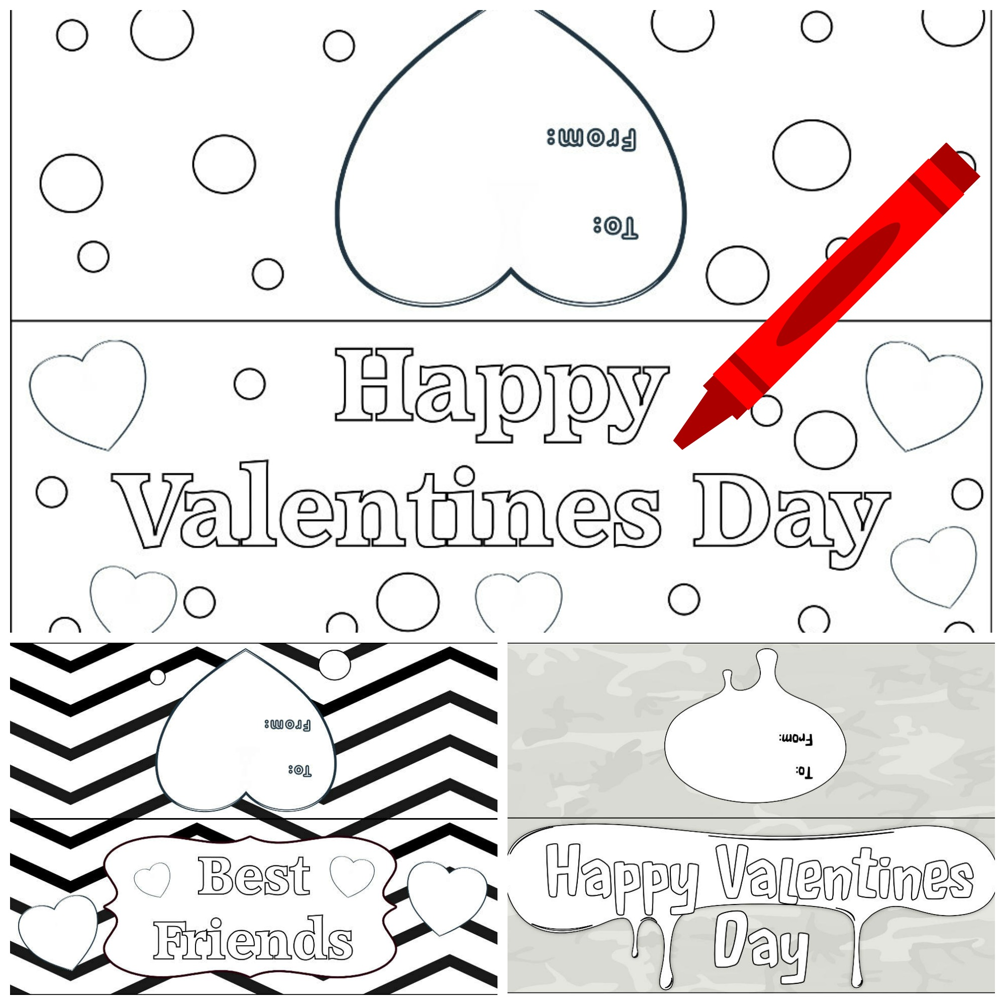 Color Your Own Printable Valentine's Day Goody Bag Toppers