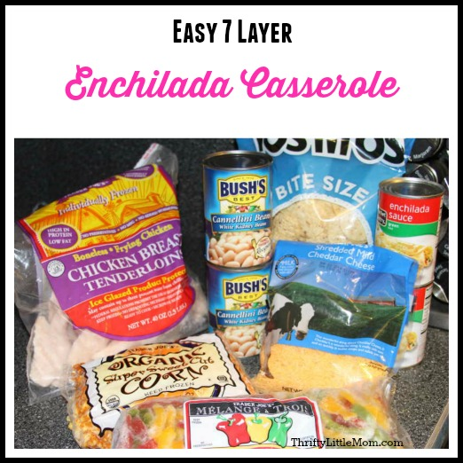 Easy 7 Layer Chicken Enchilada Casserole