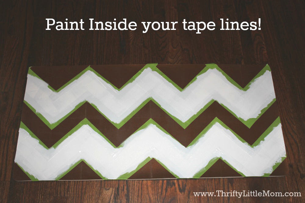 Paint inside chevron lines on kitchen mat