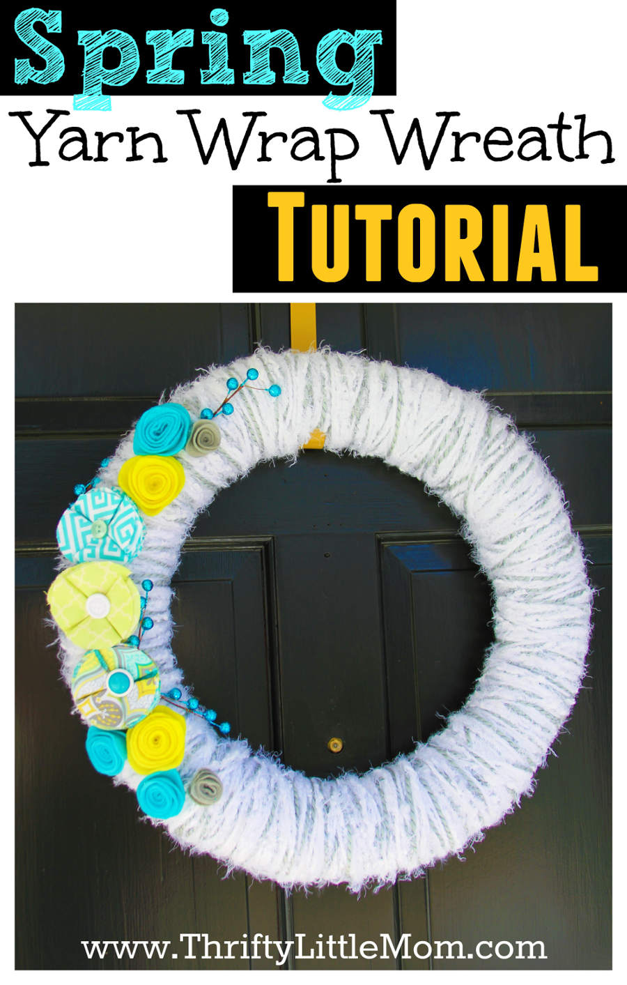 Spring Yarn Wrap Wreath Tutorial