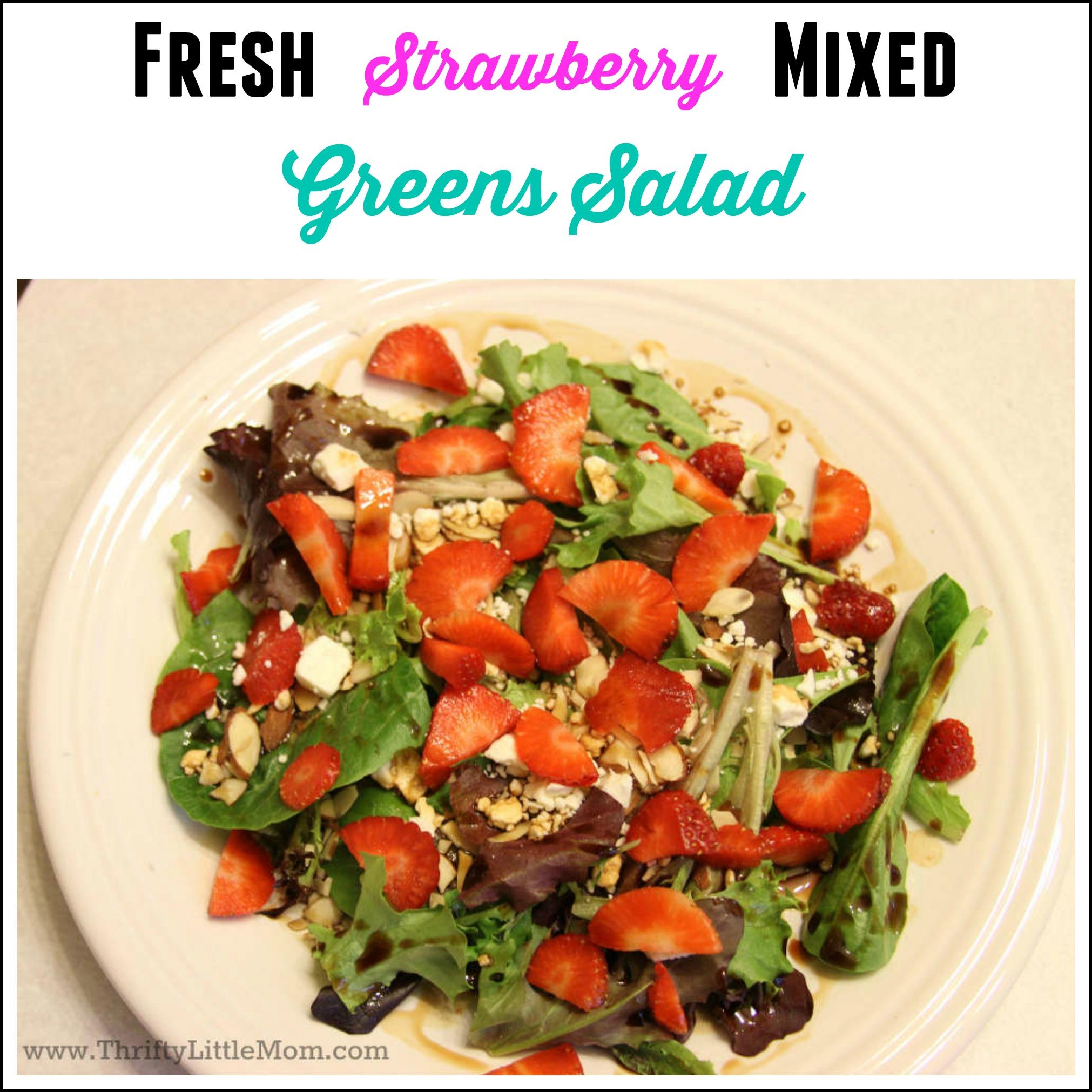Strawberry Feta Mixed Greens Salad
