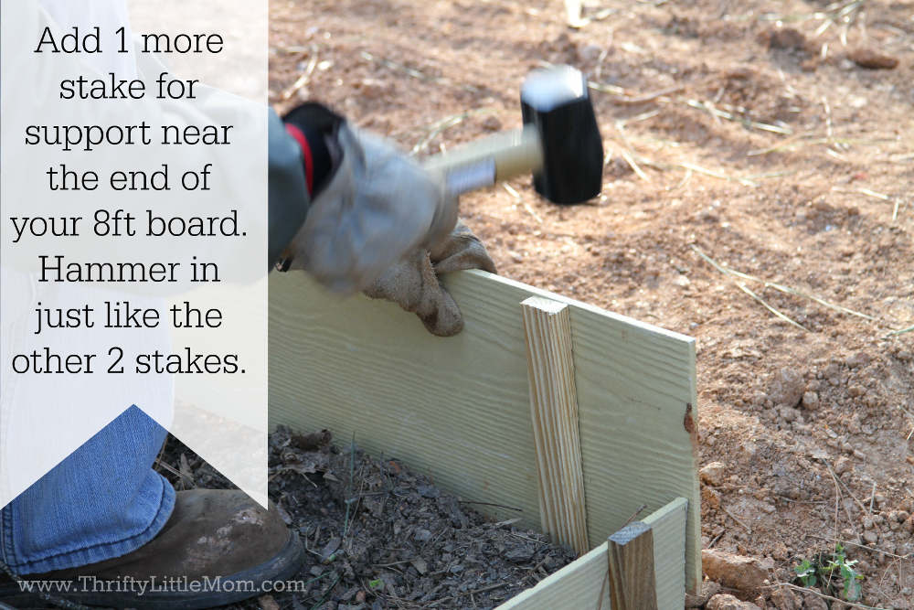 Adding Final Raised Garden Bed Stake