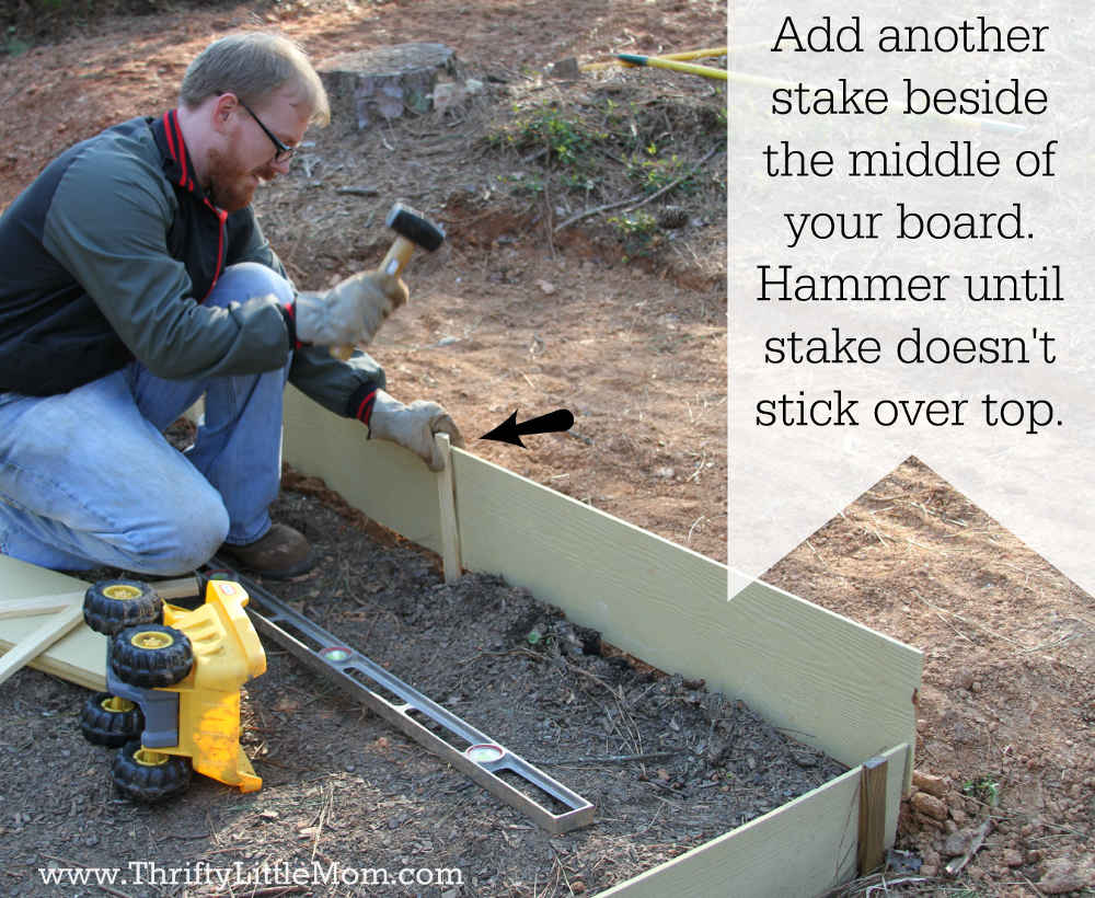 Adding Stakes next to Raised Garden Bed