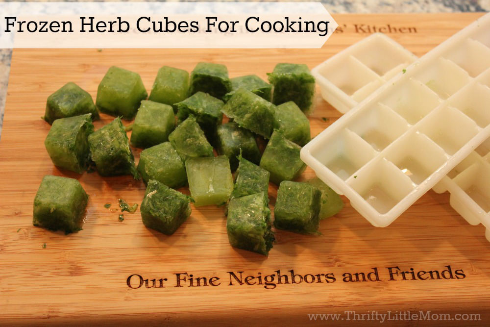 Frozen Herb Cubes for Cooking