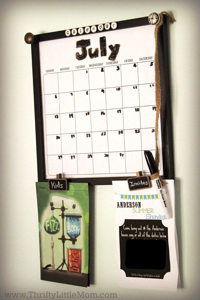 Diy dry erase family activity calendar thrifty little mom diy dry erase family wall calendar final solutioingenieria Image collections