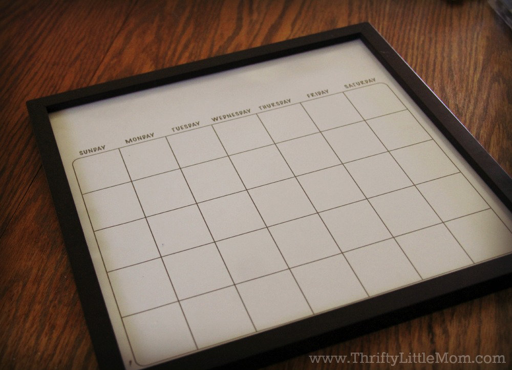 Diy dry erase family activity calendar thrifty little mom diy dry erase family wall calendar frame solutioingenieria Image collections