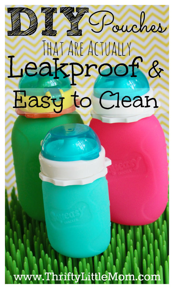 DIY Pouches that are actually leak proof and easy to clean! You can even turn them inside out. Make your own smoothies, snack pouches and drinks for your kids with out the mess.