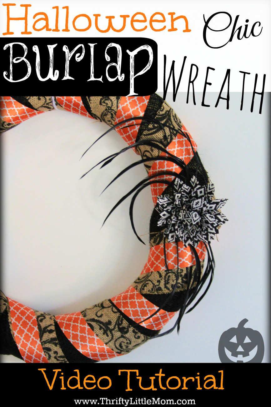 how to make a chic burlap halloween wreath thrifty little mom. Black Bedroom Furniture Sets. Home Design Ideas
