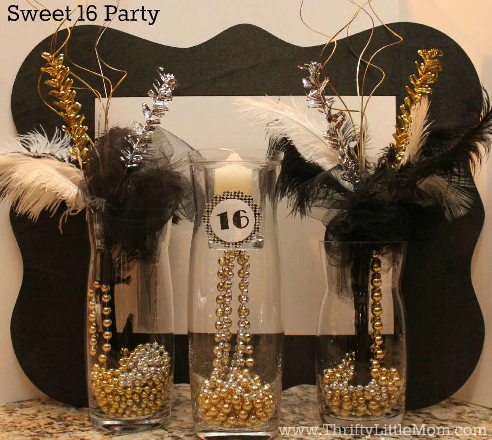 Sweet 16 Party Simple Mantel Display