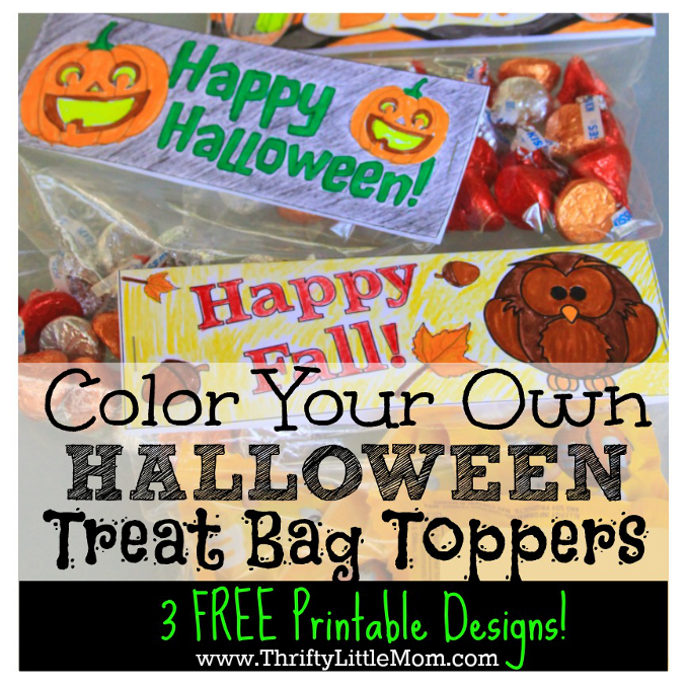 3 Free Printable Color Your Own Halloween or Fall Treat Bag Toppers