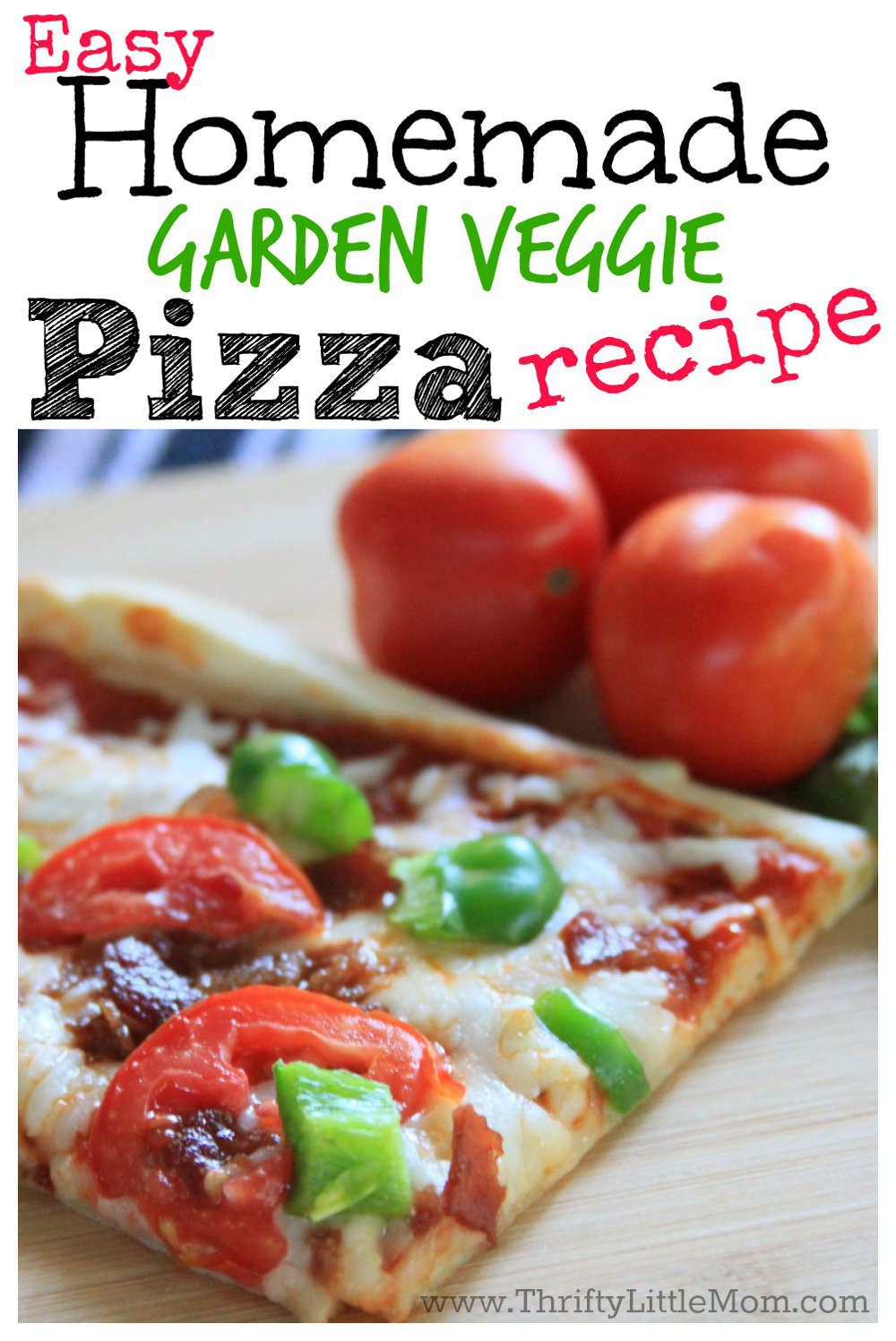 Easy Homemade Garden Veggie Pizza Recipe. This is a really quick and delicious pizza recipe to keep around for the nights when you need a really quick, crowd pleasing dinner when you are short on time and energy.