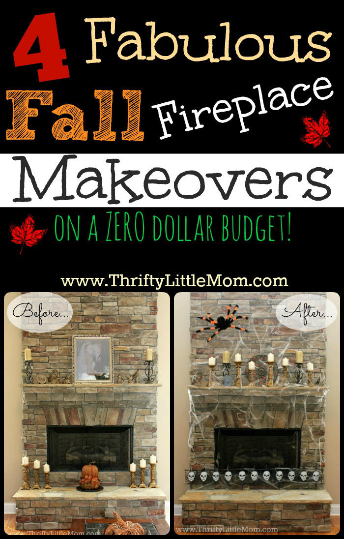 Fabulous fall fireplace makeovers on a $0 buget! 3 Simple tricks to get your fireplace area looking gorgeous using items you already own.
