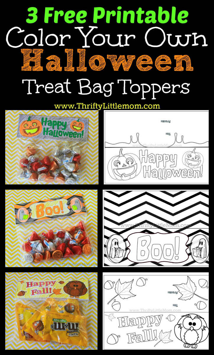 Free Printable Color Your Own Halloween Treat Bag Toppers. With this thrifty little craft projectm you simply print, color and attach them to your candy or cookie treats!