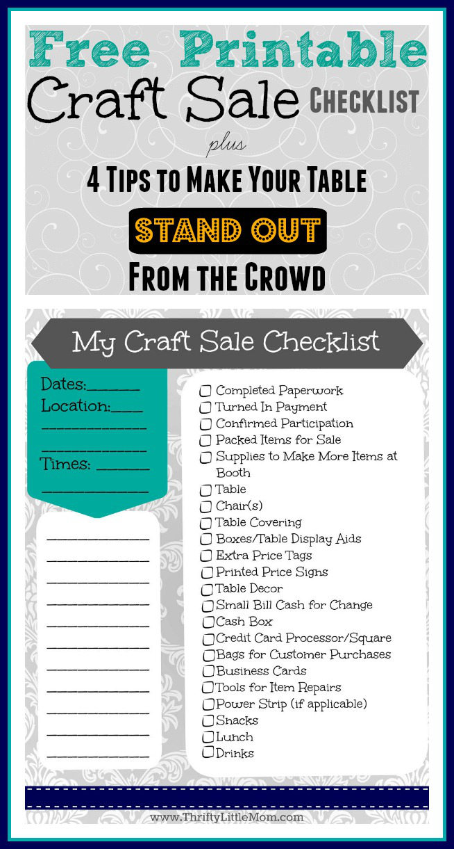 Free printable craft sale checklist thrifty little mom free printable craft sale checklist plus 4 ways to make your craft sale table stand out reheart Gallery