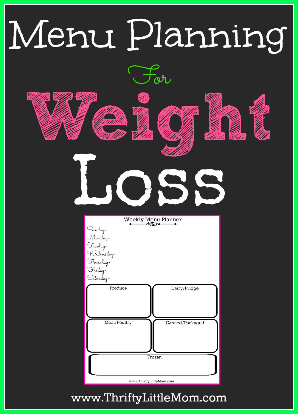 Menu Planning For Weight Loss