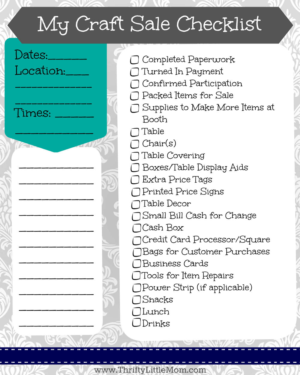 My Craft Sale Checklist