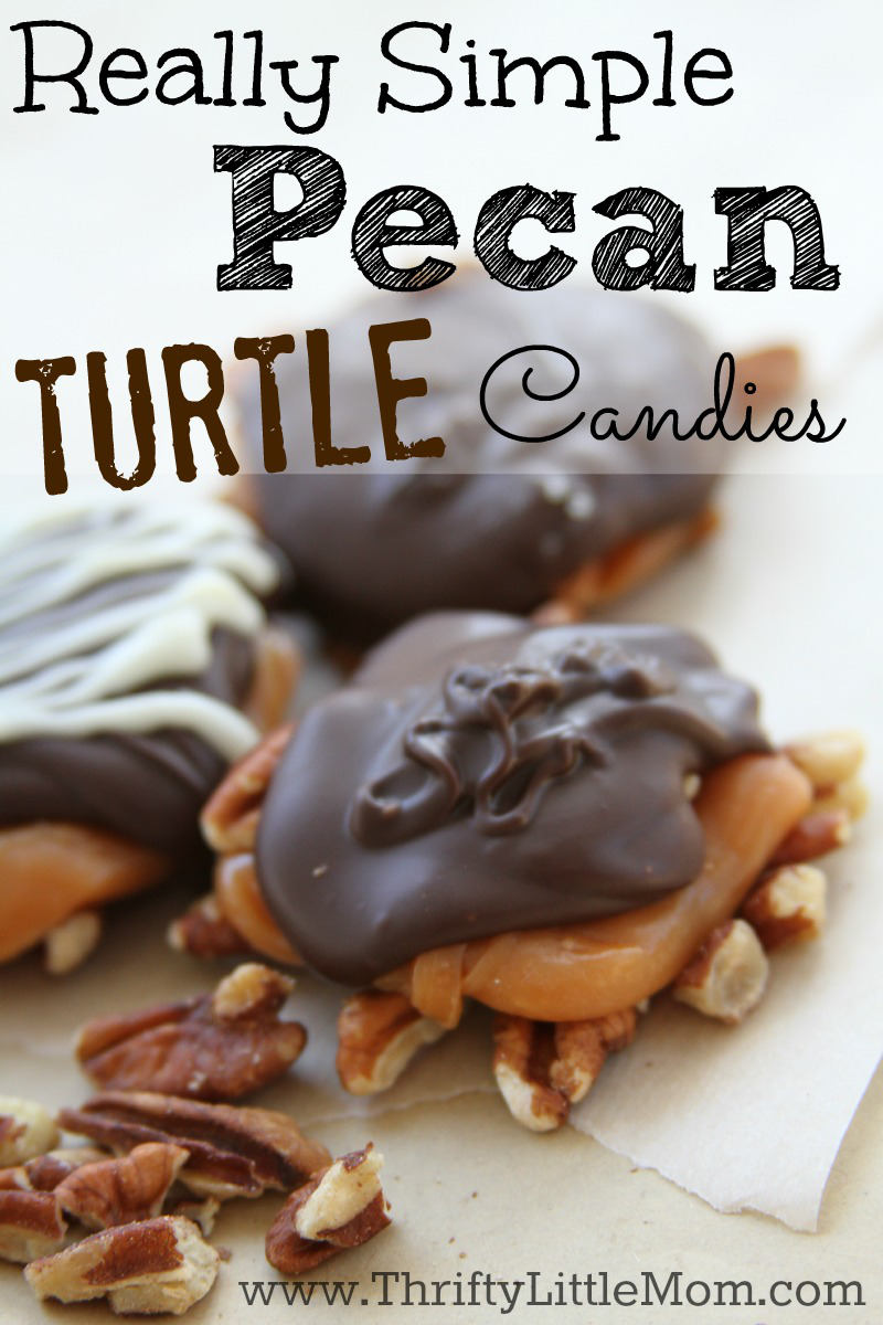 Really Simple Pecan Turtle Candies. Whether for a gift or for yourself, make up a batch of these really simple turtles this holiday season!