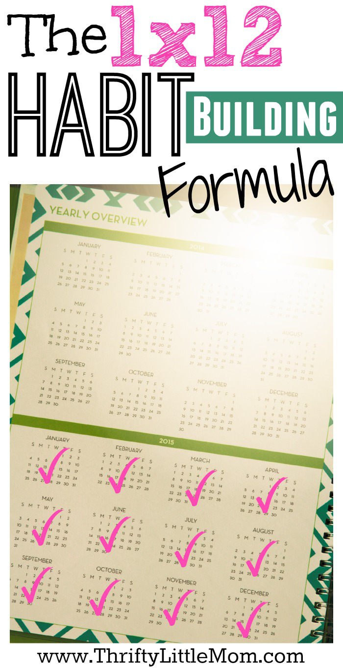 The 1 X 12 Habit Building Formula helps you set small achievable goals that stack month by month to help you create habits that stick!