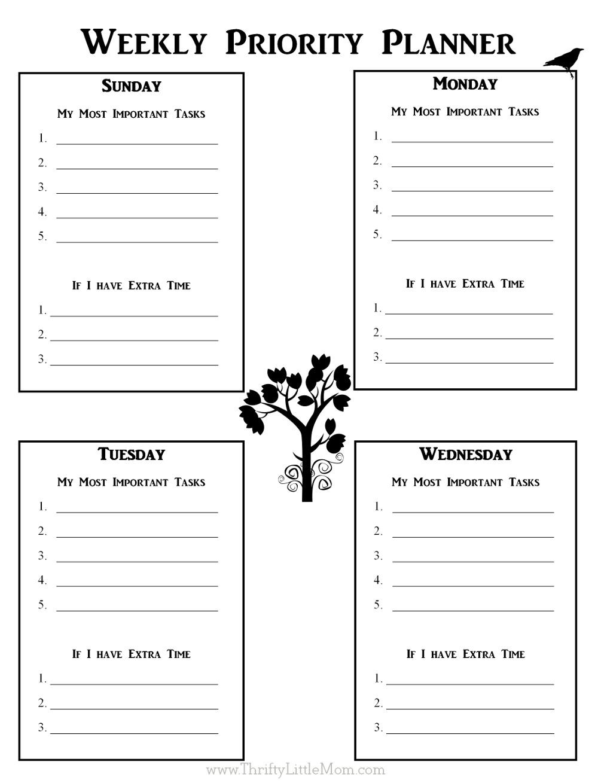 Weekly Priorty Planner Printable