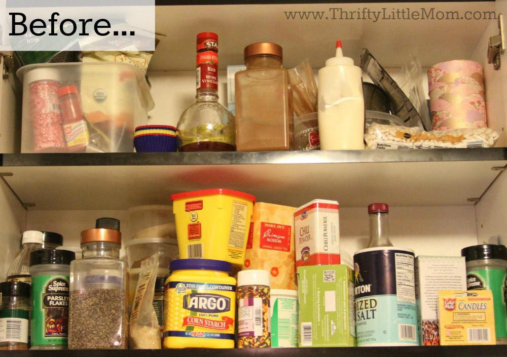 Cluttered Spice Storage Shelves