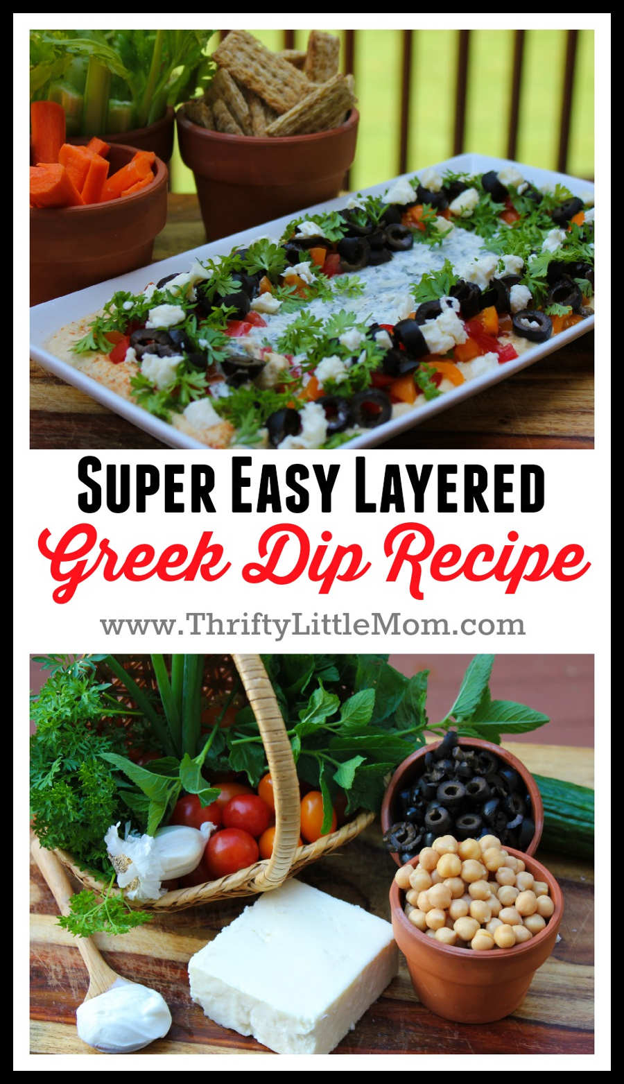 Super Easy Layered Greek Dip Recipe. A perfect party dip