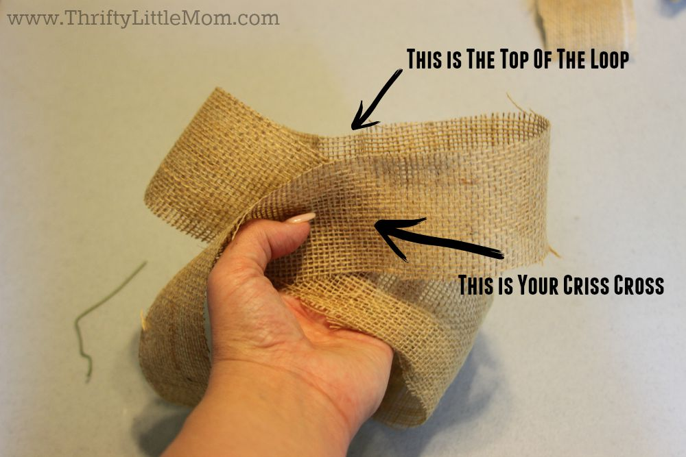 How To Make a Simple Burlap Bow Step 3