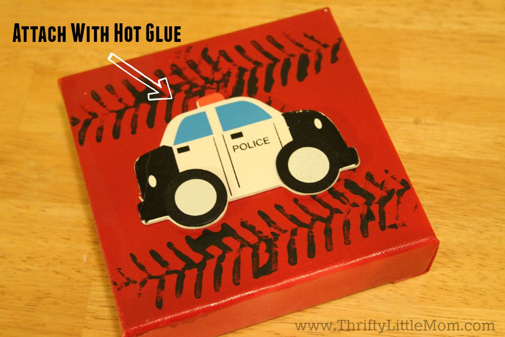 Attach Police Car with Hot Glue