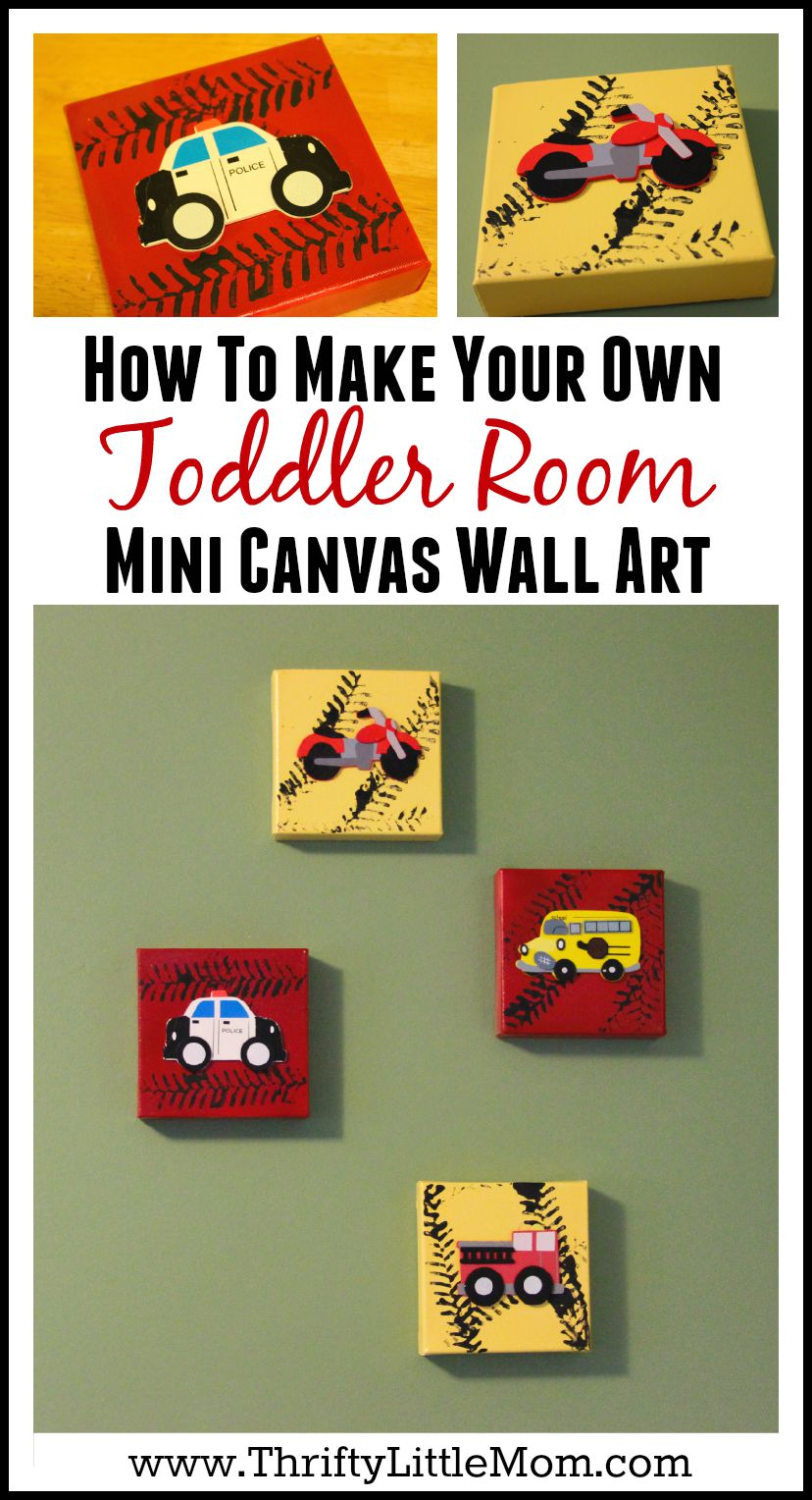 How To Make Your Own Toddler Room Mini Canvas Wall Art for just few bucks!