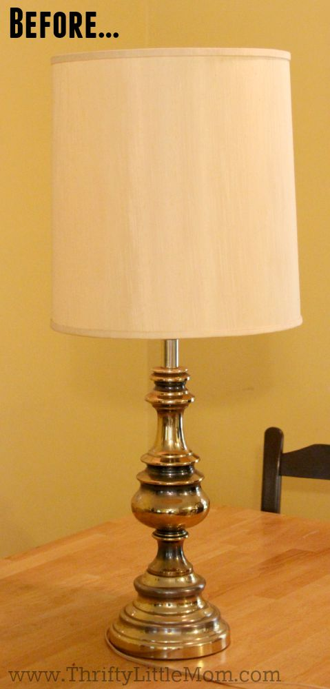 how to spray paint a brass lamp before. Black Bedroom Furniture Sets. Home Design Ideas