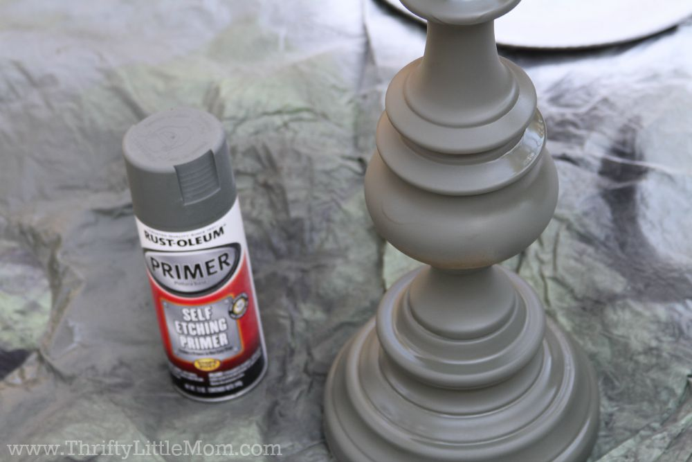 Priming the Brass Lamp Before Painting