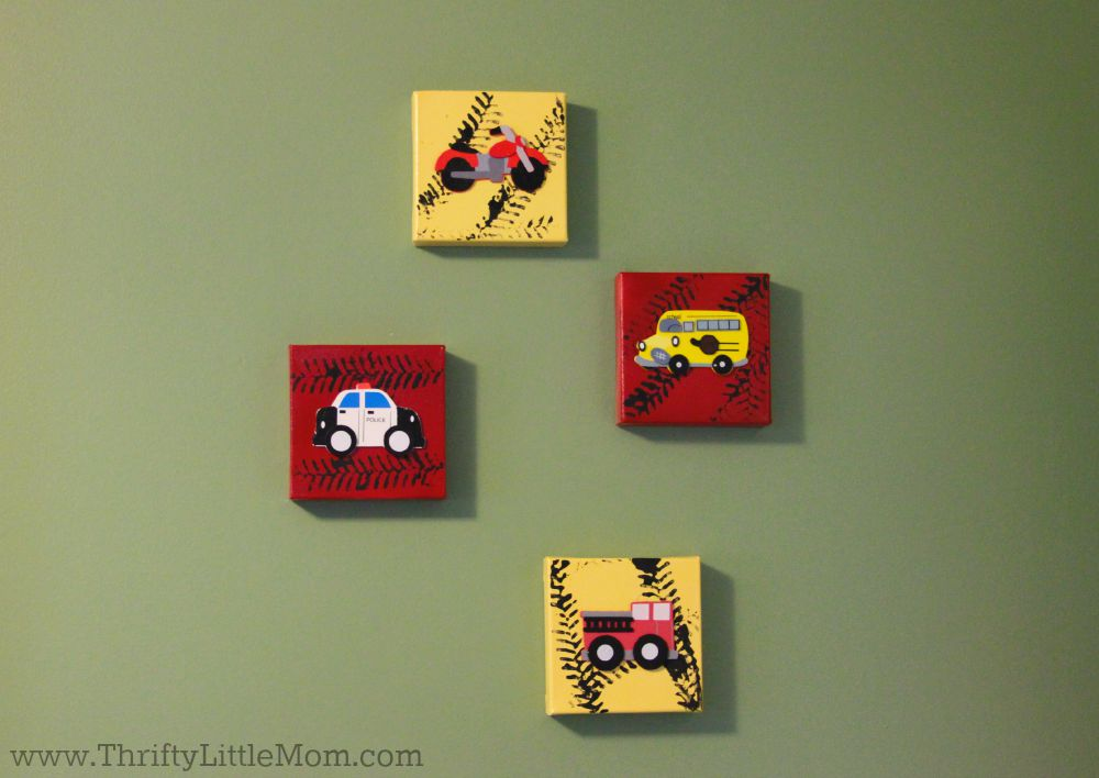 Toddler Room Canvas Art Truck Hangings