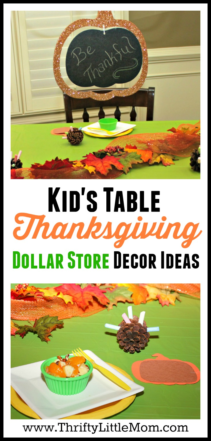 Kid's Table Thanksgiving Dollar Store Decor Ideas