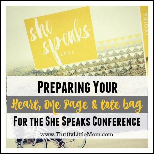 Preparing Your Heart, one page and tote bag for the she speaks conference