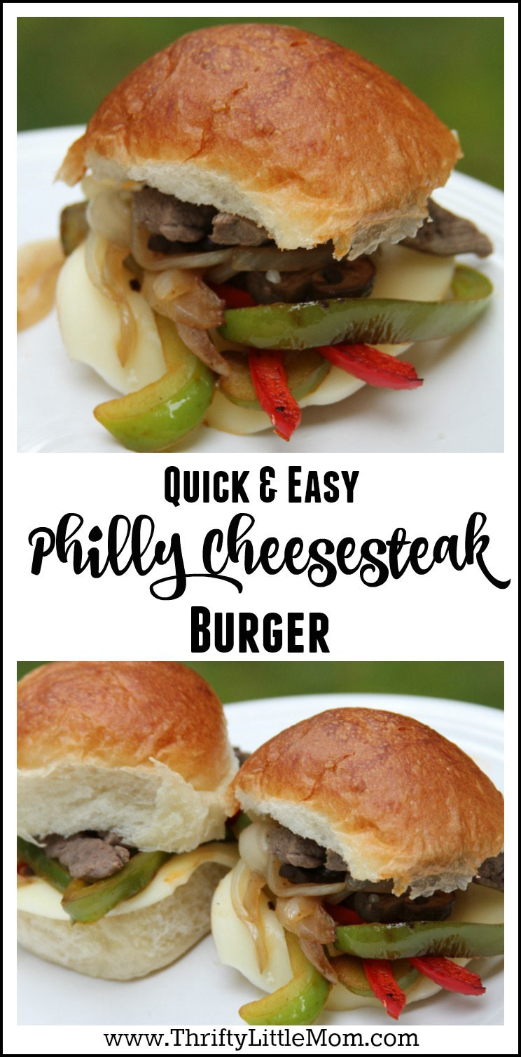 Quick and Easy Philly Cheesesteak Burger. #ad Looking for a fun new easy and affordable steak recipe for your summer celebrations? Try this delicious Philly Cheesesteak slider, burger or sandwich at your next event.