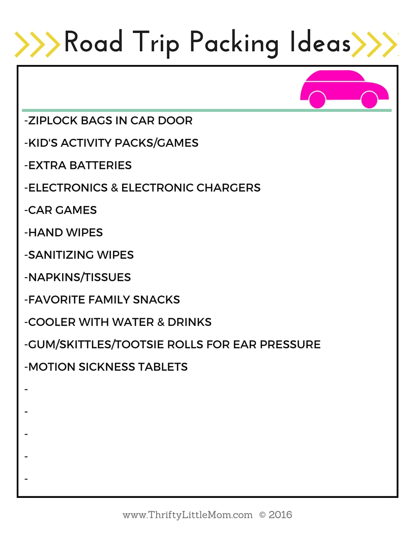 Road Trip Car Packing List