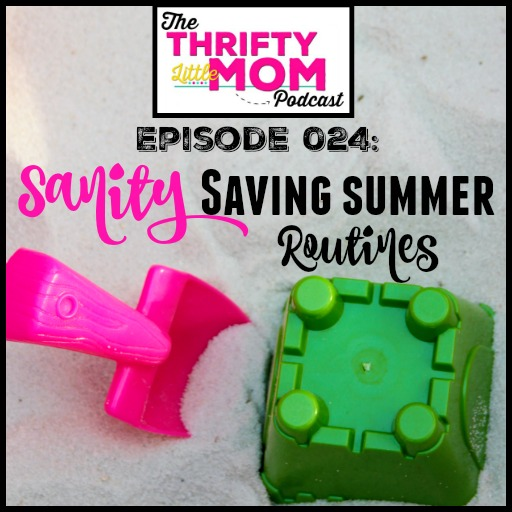 Sanity Saving Summer Routines. In this episode of the Thrifty Little Mom Podcast Kim & Rhonda discuss setting up summer routines as well as keeping the house clean and organized with kids around!