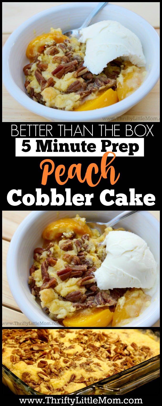 5 minute prep peach cobbler cake