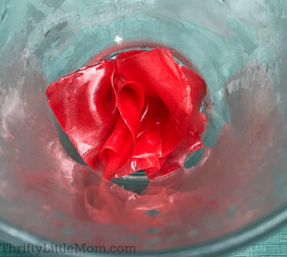 fruit snack paper rose in glass