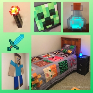 My Thrifty Minecraft Bedroom Makeover & Wall Decor