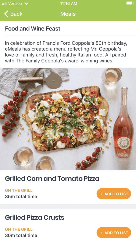 eMeals Special Occasions Menu Food & Wine
