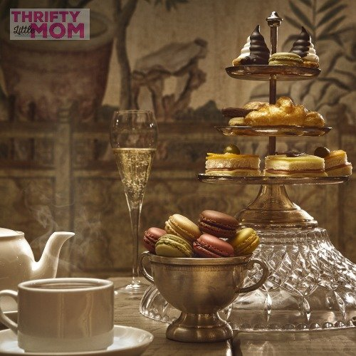 Gold and burgundy tea table
