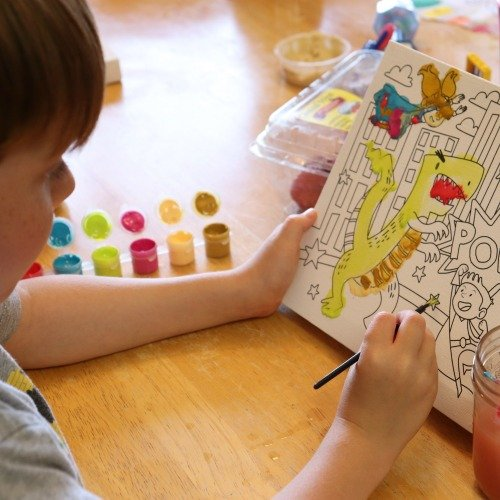 Painting Party for Kids- Kid painting canvas