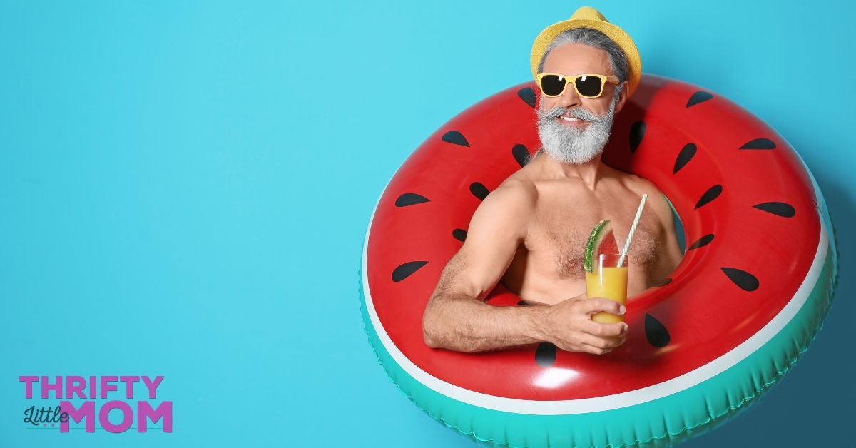 man in a pool float is enjoying this adult party theme